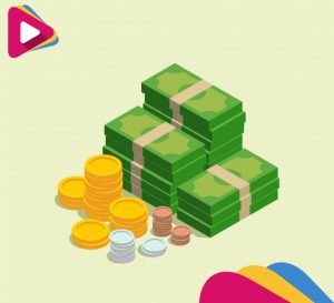 bills and coins in isometric design 23 2147604444
