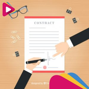 businessmen with a contract in flat design 23 2147552159