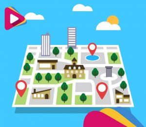 road map with pointers in flat style 23 2147800329